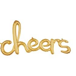 Ballon Schriftzug Cheers in gold 101cm