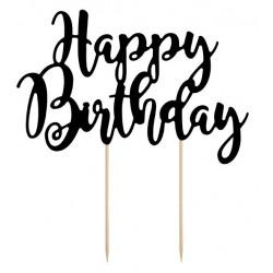 Tortendeko Happy Birthday schwarz