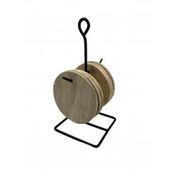 6x Glasuntersetzer Holz rund