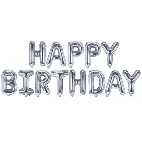 Ballon Schriftzug Happy Birthday silber