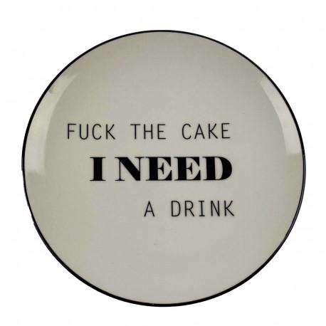"Teller weiß ""Fuck the cake"""